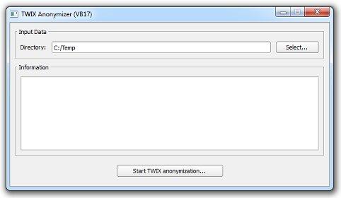 Screenshot of a TWIX Anonymizer window.