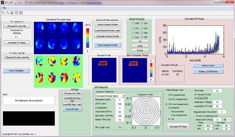 Screenshot of the parallel transmission 2D RF excitation pulse design GUI.