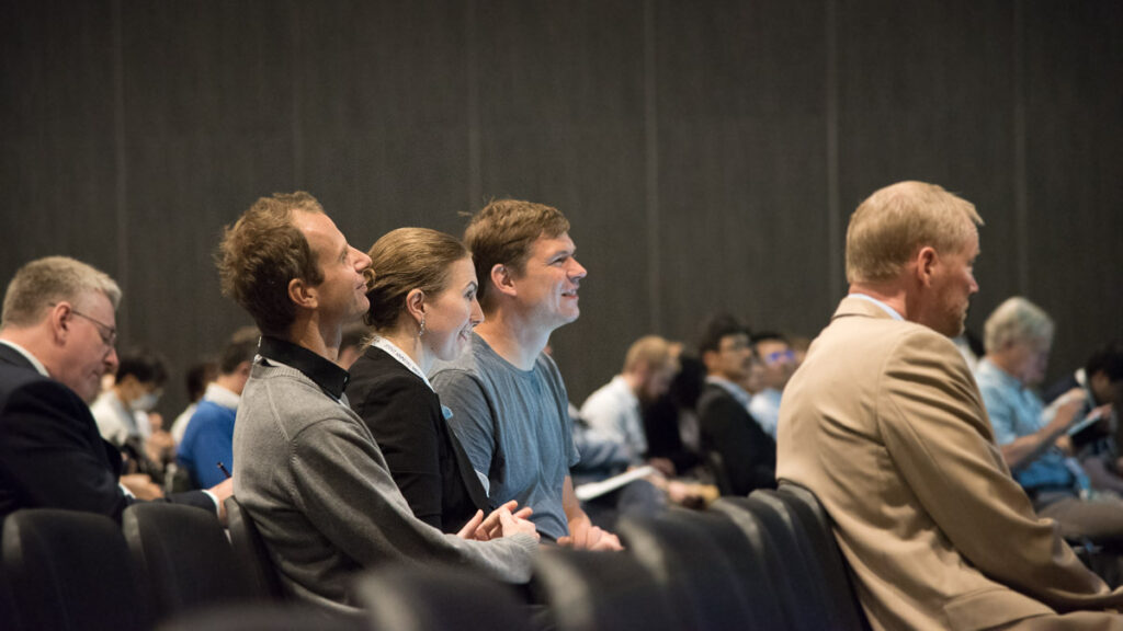 Florian Knoll, PhD; Kerstin Hammernik, PhD; and Thomas Pock, PhD, in the audience at the annual meeting of the ISMRM in Paris, France, in 2018.